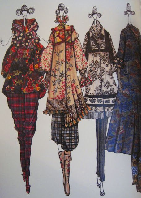 Antonio Marras for Kenzo sketchbook work. Fabulously detailed fabric pattern & print drawings - fashion illustrations; developing a collection