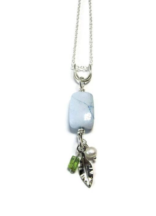 Aquamarine Dangle Pendant Necklace  Sterling Silver Chain