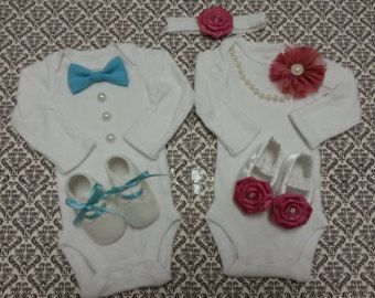 Boy Girl TWIN Outfits - Newborn Take Home, Pink and Blue, Bow Tie, Satin Headband, Shabby Flower, Crib Shoes, Pearl Necklace