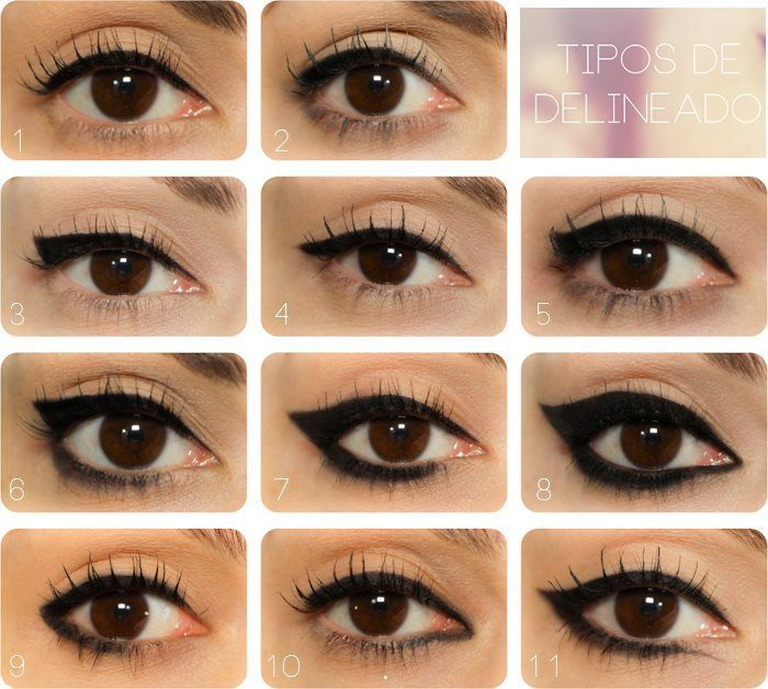 eyeliner shapes all on the same eye to show what they actually do