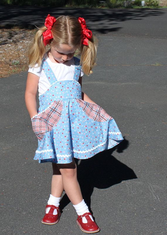 Retro school jumper pdf sewing pattern girl toddler suspender $11.20 AU