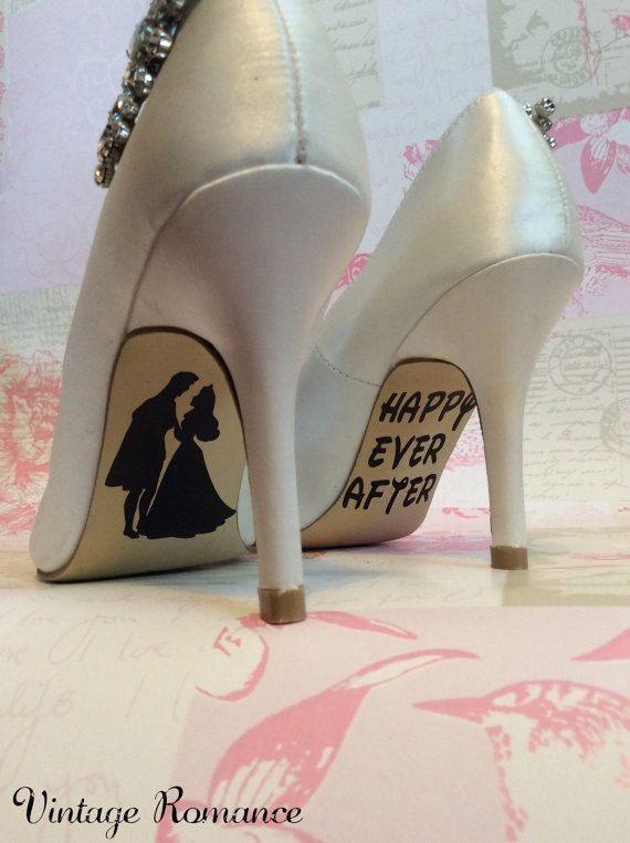 Disney Wedding Day shoe sole vinyl decals / stickers Sleeping Beauty and Prince, Princess Aurora