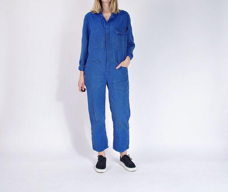 60s Indigo Cotton Mechanic's Workwear Street Style Coveralls / Size man S women M/L