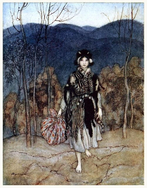 She went along, and went along, and went along. Arthur Rackham, from English fairy tales, retold by Flora Annie Steel, New York, 1922.