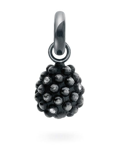 Ole Lynggaard Copenhagen Sweet Drop charm Blackberry with diamonds in solid oxidized sterling silver - Kennedy Jewellers