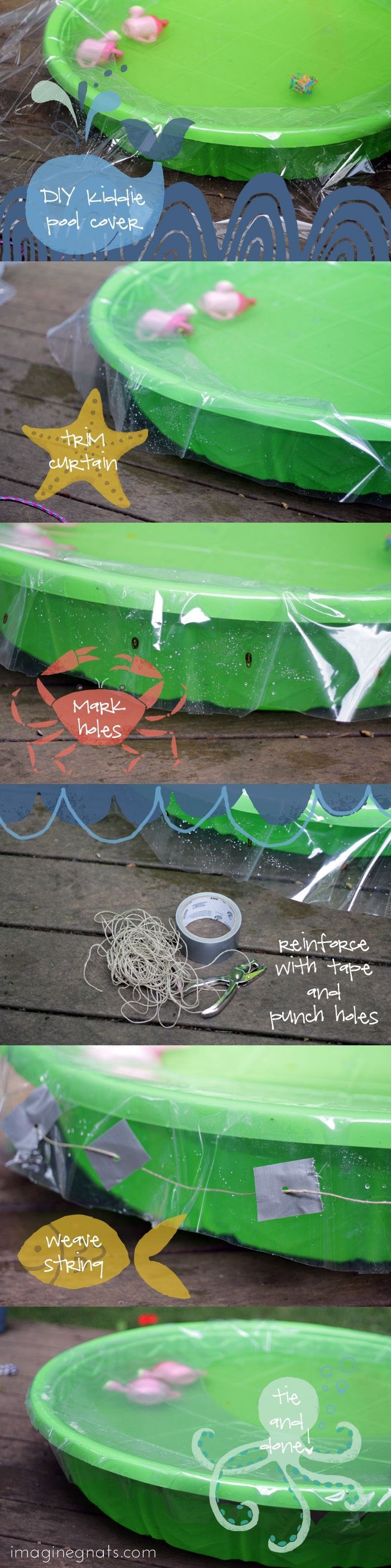 could do this for a makeshift greenhouse cover for large pots. DIY: kiddie pool cover || imagine gnats