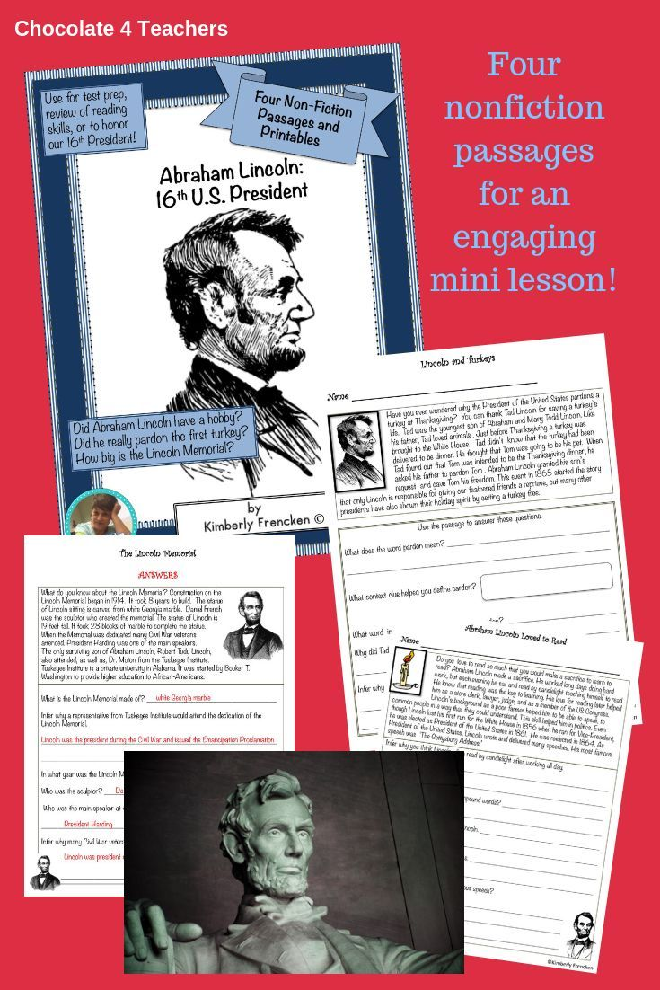 Abraham Lincoln: Four Non-Fiction Passages \u0026 Printables for Reading Skills    Reading skills [ 1102 x 735 Pixel ]