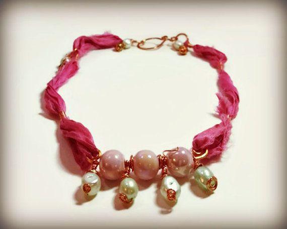 Pearl bar necklace sari silk necklace mixed media by AlphaBlocks