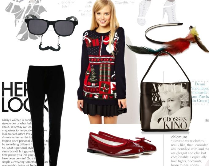 A winter-festive jumper teamed for casual-day look.