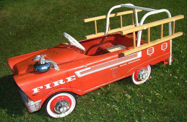 Fire Truck Pedal Car: Vintage MURRAY Pedal Car FIRE TRUCK Engine With Wooden
