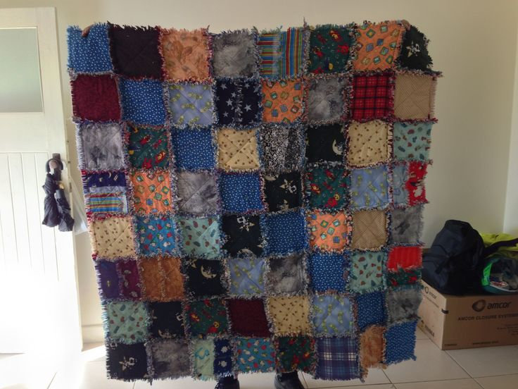 A shaggy Quilt made from flannelette and flannelette shirts.