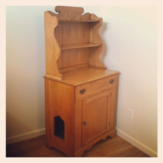 Custom Pet Cat Litter Box Furniture Made From Vintage Maple Hutch Cat Litter Boxes Cats And Pets