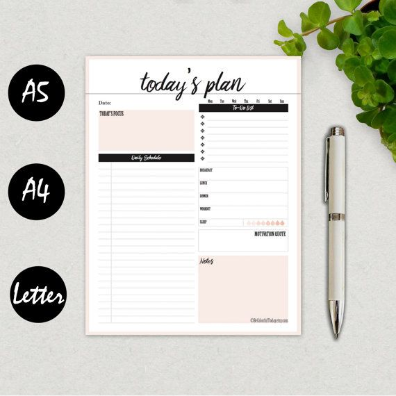 Printable Daily Planner 2016, Daily Agenda, Daily To Do Page, Daily Schedule, Organizer, Filofax A5, A4, Letter, Kikki K Large, PDF DOWNLOAD