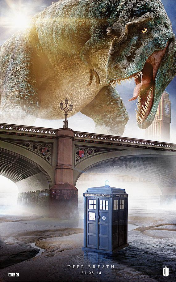 """Doctor Who Season 8 Poster, 'Deep Breath'   AM I THE ONLY ONE WHO FINDS THIS HILARIOUS?""  My mind went straight to Doctor Who/Primeval crossover..."