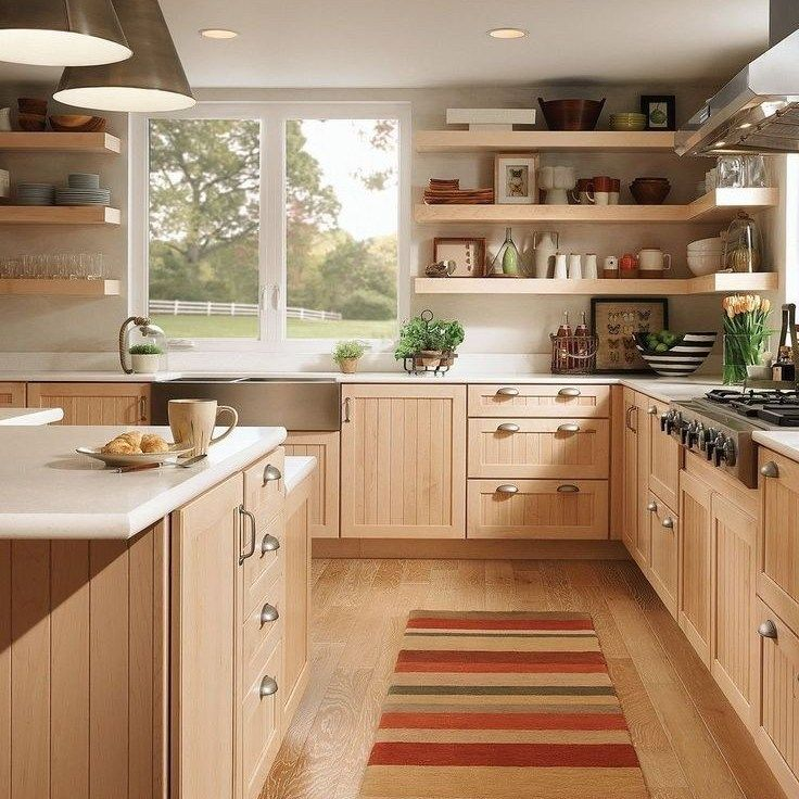 36 The Hidden Facts About Staggered Kitchen Cabinets Corner Revealed By An Old Pro Homeexalt Light Wood Kitchens Kitchen Design New Kitchen Cabinets