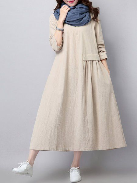 Crew Neck Dress Shift Daily Long Sleeve Casual Gathered Solid Dress