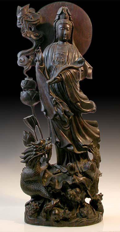 Large Antique Teak Wood Buddha Statue - Water-moon Quan Yin Riding on Dragon Chinese, Qing to Republic, early 20th century - h.40 in.(102cm) X w.14 in.(36cm) X d.8 in.(20cm)