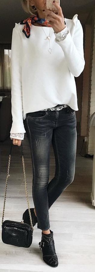 #winter #outfits white sweater ; black distressed jeans