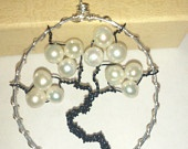 Freshwater Pearl Tree of Life Wire Wrap Necklace Handmade Silver Plate Copper Black Wire