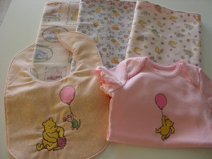 Handmade Classic Pooh Burp Cloths Bib Onesie Baby