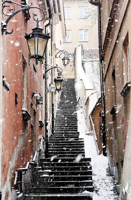 Snow in Warsaw Old Town, Poland.