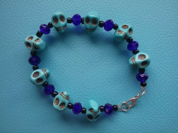 Hey, I found this really awesome Etsy listing at https://www.etsy.com/au/listing/265177048/turquoise-skull-bracelet