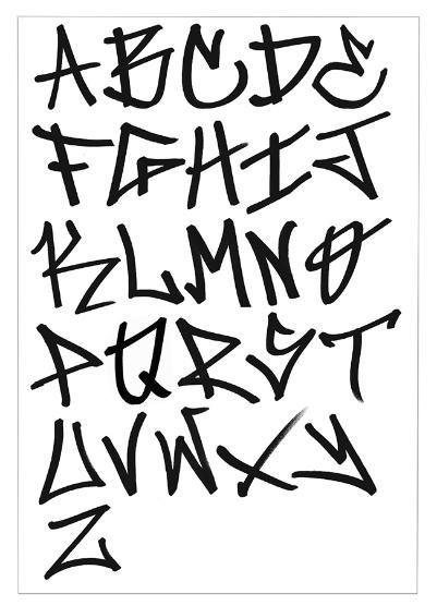 graffiti tag alphabet, back-slanted letters, graffiti font