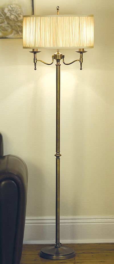 Viore Design Stanford Floor Lamp in Oxidised Brass w Shimmer Grey Shade 158cm | GoLights.com.au