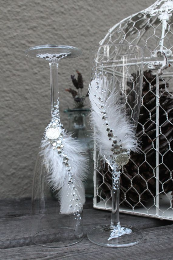 Great Gatsby wedding theme wedding champagne glasses, hand decorated with real Feathers and silver crystals by PureBeautyArt