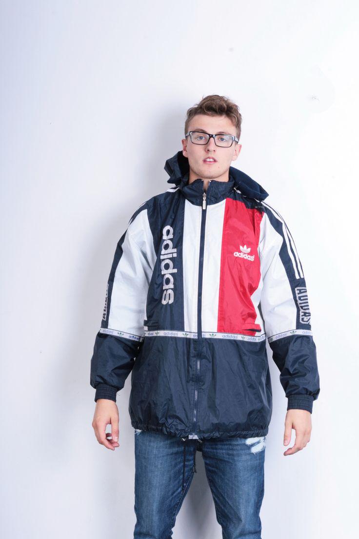 Adidas Mens 3XL Jacket Hoodie Sport Blue White Track top Tracksuit Vintage Retro 90s