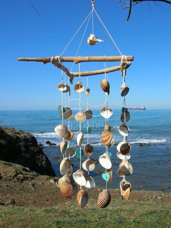 Wind Chime Dream Catcher Driftwood Beach Seashell Decor Shabby Gift Idea Rustic Coastal Wedding Garden Patio Living Modern Hanging Outdoor On