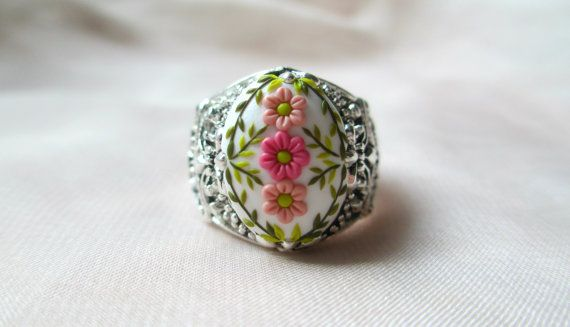 Stories Made by Hands Victorian ring  jewelry Baroque ring Vintage style antiqued silver copper flower ring engraved adjustable ring