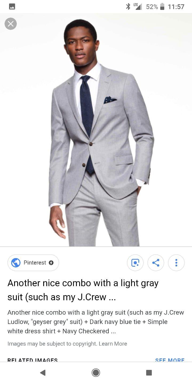 90e5669ebaef Grey Suit White Shirt Black Tie Brown Shoes