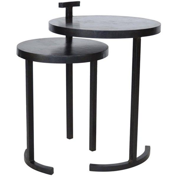 Nesting Table Set, Handmade By J.m. Szymanski In Cast Blackned And... (12,000 SAR) ❤ liked on Polyvore featuring home, furniture, tables, accent tables, black, end tables, black accent table, black end tables, steel end table and handcrafted furniture