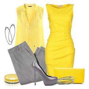 С чем носить серые туфли: желтая блузка, серые брюки или желтое платье с клатчем