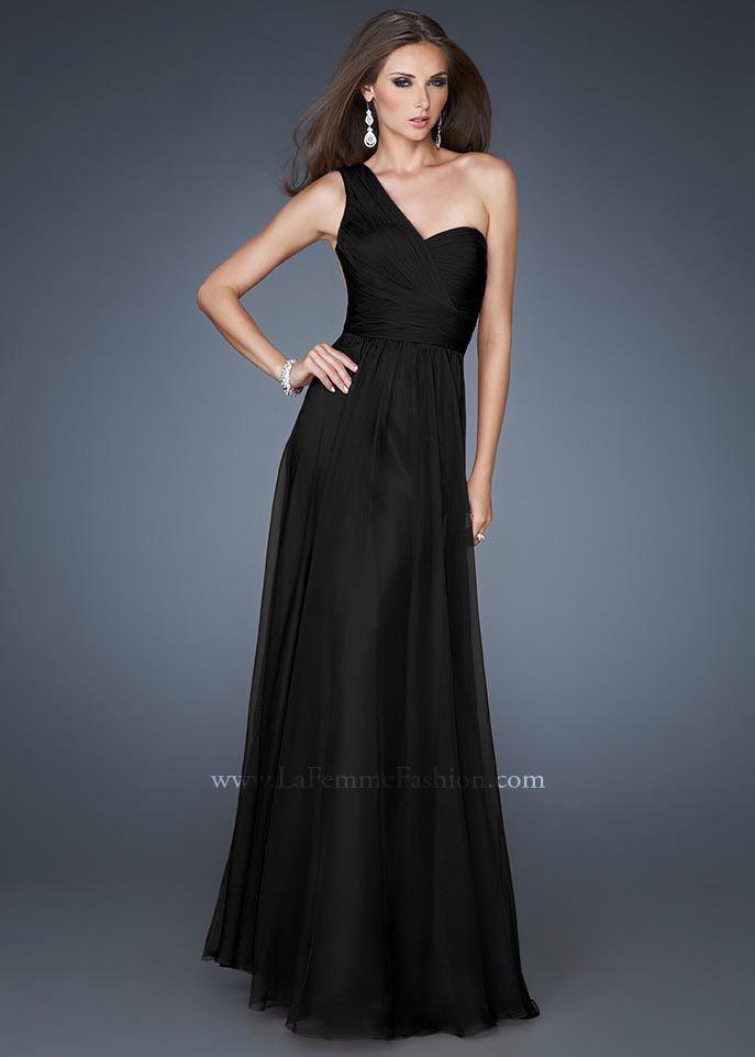 Long Black Prom Dresses | Black Long One Shoulder Sheer Back La ...