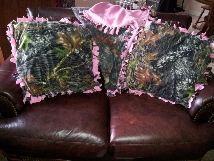Camoflauge and Pink tie pillows and blanket. So easy to make and turns out really cute!