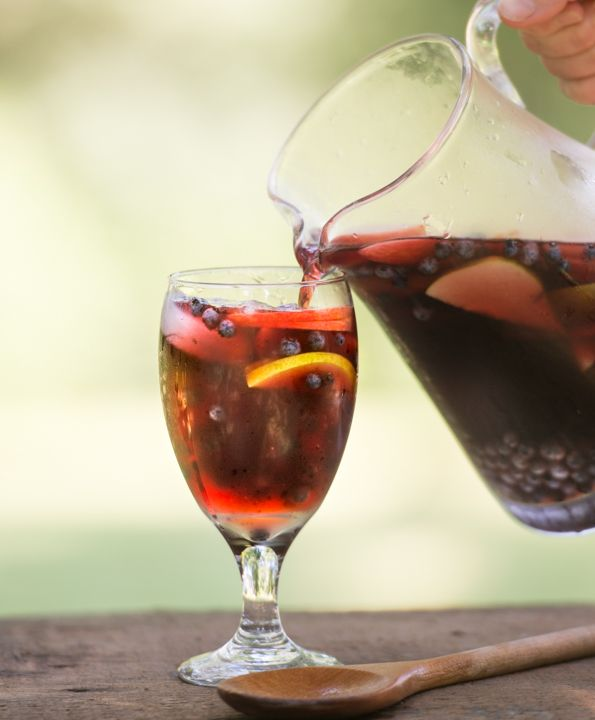 Maine Wild Blueberry Sangria: It's not traditional, but it's a good way to use up that bottle of Maine wild blueberry wine someone thought you might like, and it's delicious!
