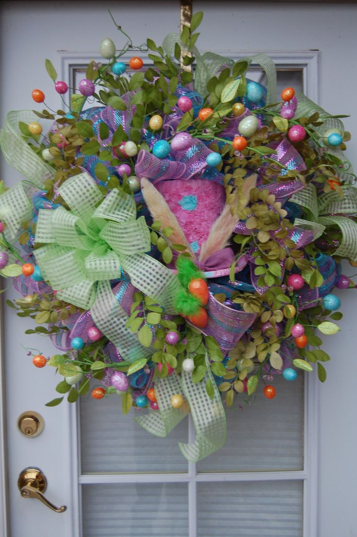 Christmas tree decorating with burlap and deco mesh craft outlet - Deco Mesh Easter Wreath