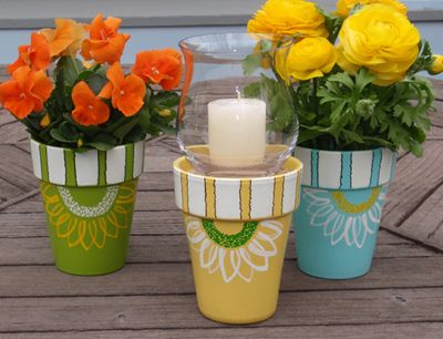 #springintothedream Front Porch Inspiration: Painted Terracotta Pots. Flowers painted on flower pots ...