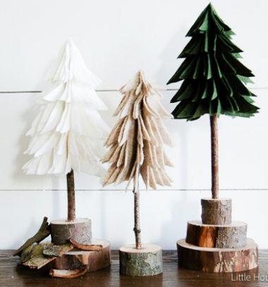 DIY rustic felt Christmas trees - easy Christmas decor // Rusztikus térbeli filc karácsonyfák farönk szelet talppal  // Mindy - craft tutorial collection