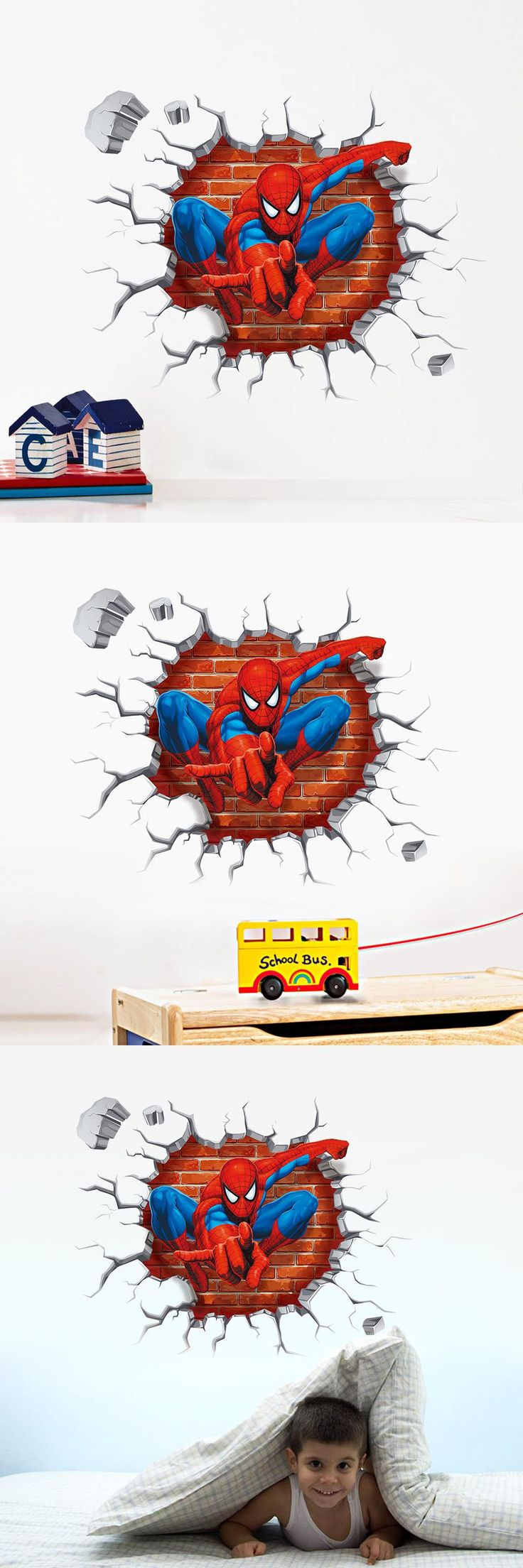 3d Cartoon Spiderman wall stickers for kids rooms home decor Kids Nursery Wall Decals Home decoration Boy room gift Wallpaper $1.99