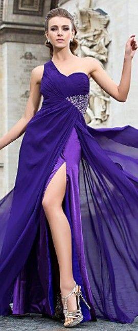 Sheath/Column One Shoulder Floor-length Chiffon Evening Dress ~ purple