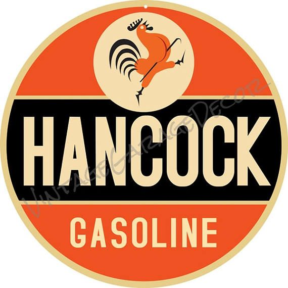 Hancock Gasoline Oil and Gas Service-Station Advertising Metal Sign  $25.00