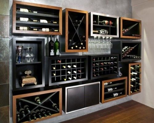 Modular wine storage. I don't know why, but this just gave me the idea to have one of my cubes be a small wine cooler fridge for the Whites..