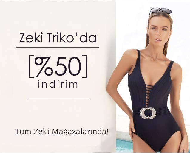 Zeki Triko'da mayo, bikini ve tüm plaj aksesuarlarında %50 indirim sizleri bekliyor. Zeki Triko #TerraCity'de.