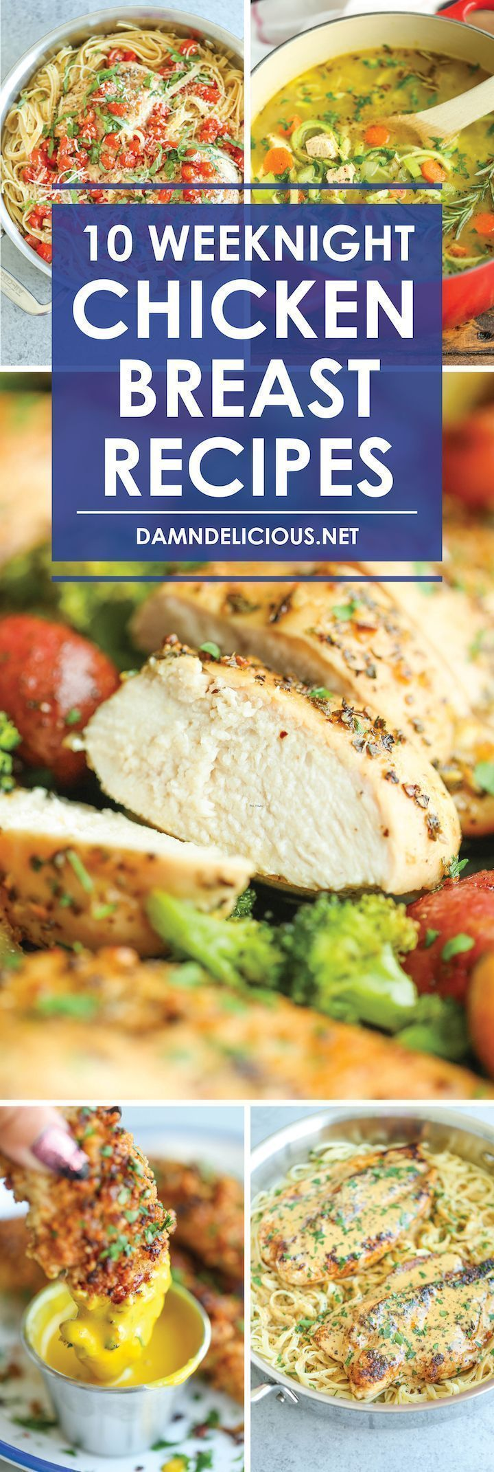 10 Weeknight Chicken Breast Recipes - Easy peasy recipes to use up all those chicken breasts in your fridge/freezer. These are quick, healthy and hearty!