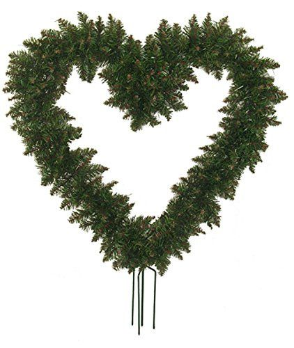 Felices Pascuas Collection 22 inch Green Pine Artificial Heart Shape Wreath with Ground Stakes - Unlit
