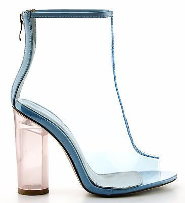 Benny-1-Open-Toe-Block-Chunky-Clear-Perspex-Heel-Ankle-Boot-Bootie-Shoe-Blue