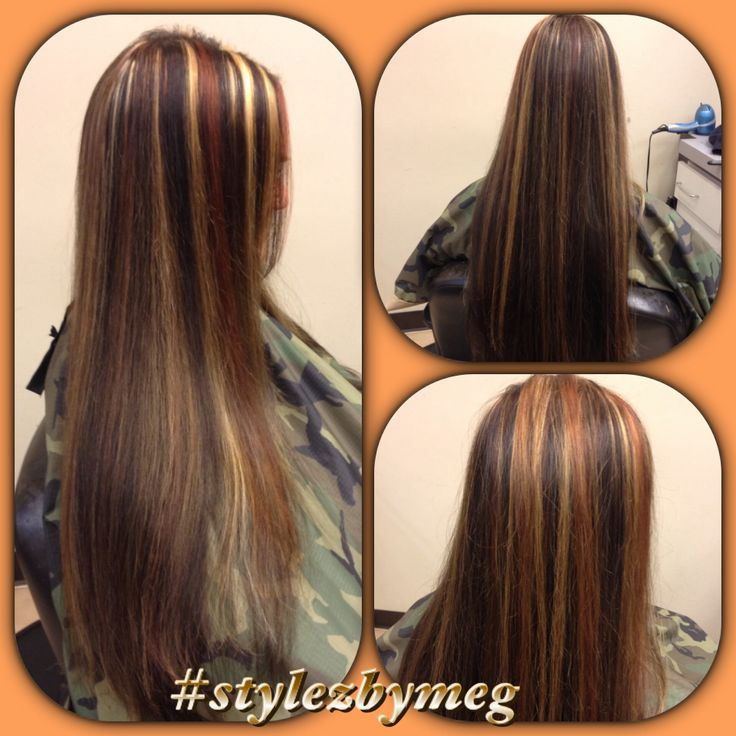 Long Hair Highlight And Multi Colored Lowlights This
